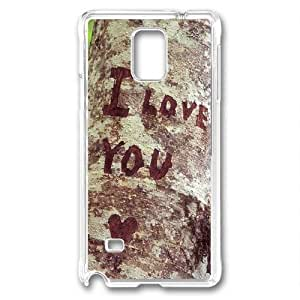 Custom Samsung Galaxy Note 4 Case,Carved on a tree I LOVE YOU Transparent Samsung Galaxy Note 4 Cases