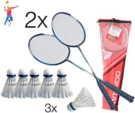 TK Gruppe Timo Klingler Badmintonset Federball Set für Badminton bestehend 2X Schläeger Schläger Federballschläger Badmintonschläger 3X Badmintonbälle Federbälle Bälle Rackets weiß
