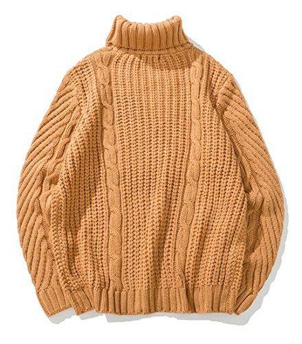 Chunky Knit Jumper (Alion Men's Casual Turtleneck Long Sleeve Cable Chunky Knit Jumper Sweater Camel M)
