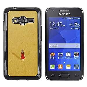 FECELL CITY // Duro Aluminio Pegatina PC Caso decorativo Funda Carcasa de Protección para Samsung Galaxy Ace 4 G313 SM-G313F // Red Desert Alone Lonely Gold Dress