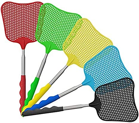 Wellgoo 5 Pieces Fly Swatter Extendable Plastic Manual Swat Fly Control with Telescopic Handle