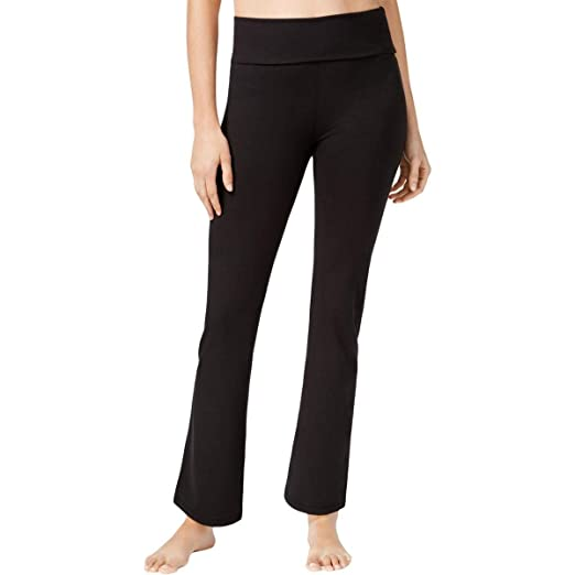 61a3d6dea39fa Gaiam Womens Om Nova Bootcut Fold Over Yoga Pants Black XS at Amazon ...