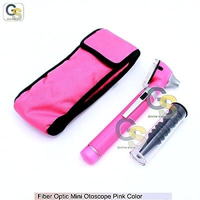 Fiber Optic Mini Otoscope Pink Color (diagnostic Set) G.s Instruments