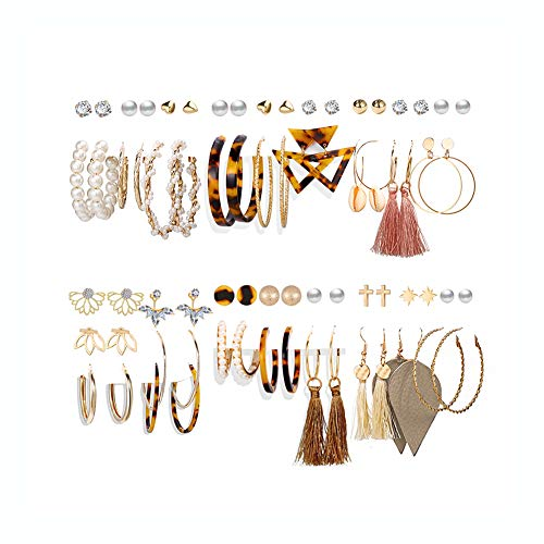 36 Pairs Fashion Tassel Earrings Set for Women Girls Bohemian Hoop Stud Drop Dangle Earrings Leather Leaf Earrings for…