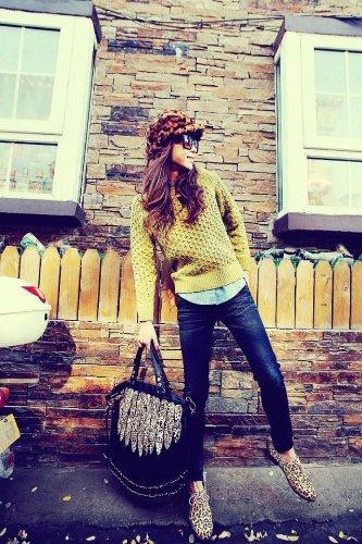Shopinthebox Lady Punk Tassel leopard print Fringed Handbag Tote Shoulder Purse Bag Black