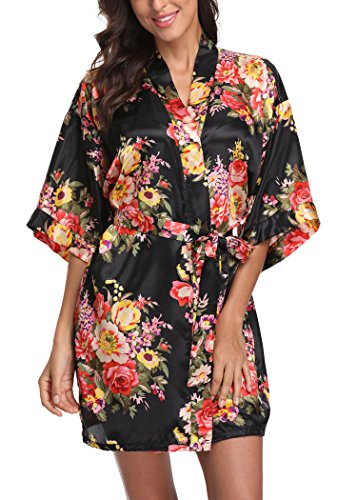 Laurel Snow Floral Satin Kimono Robes for Women Short Bridesmaid and Bride Robe for Wedding Party,Black S ()