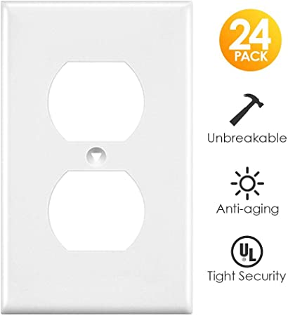 10 Pc 4 Gang Duplex Receptacle Plastic Wall Plate White Unbreakable Face Cover Home Improvement Electrical Supplies