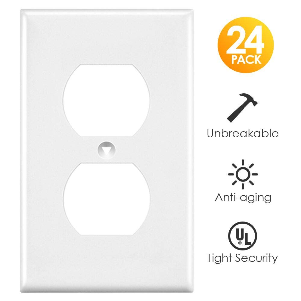 Outlet Covers, White Wall Plates Light Switch Power Plug Cover, 1-Gang Duplex Decorative Electrical Plate Kit, Unbreakable Polycarbonate Material, Standard Size Replacement Faceplates, 24 Pack