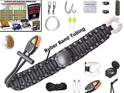 Paracord Emergency Bracelet Kit, 550 Parachute Cord, Fire Starter, Compass, Cutting Tool, Survival Fishing Gear, Tinder, Whistle, Upgraded Locking Buckle LIFETIME