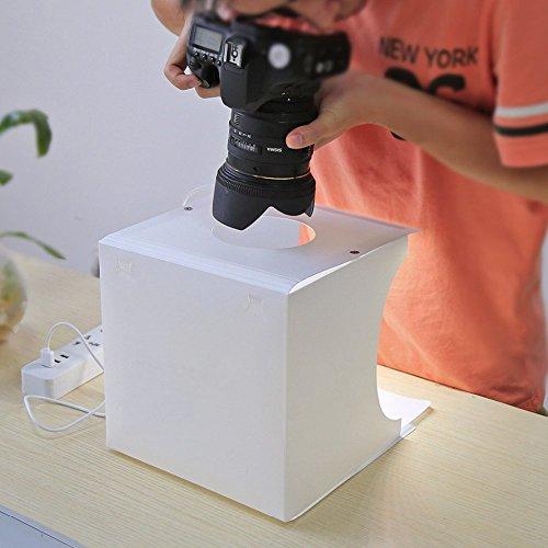 ENbeautter Kit para Fotografía de Producto con Iluminación de Luz LED USB,Color Negro y Blanco Foto de Fondo Shooting...