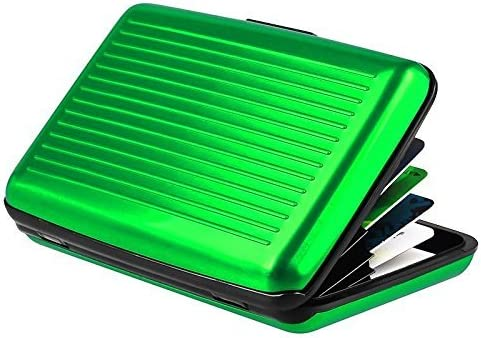 iLett Aluminum Wallet Green Resistant Block RFID protect Card Holder 6 pockets