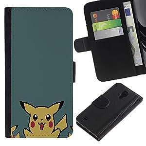 NEECELL GIFT forCITY // Billetera de cuero Caso Cubierta de protección Carcasa / Leather Wallet Case for Samsung Galaxy S4 IV I9500 // P1Kachu Pixel P0kemon