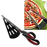 Dabxxxi Lengthen Stainless Steel Pizza Scissors 31cm Cutter Slicer Server Anti-Stick
