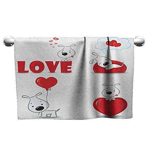 xixiBO Print Bath Towel W14 x L14 Love,Set of Funny Dogs with Heart Symbols My Pet Best Friends Ever Animal Valentines Theme, Red White Easy to Dry Towel (Best Zelda Rap Ever)
