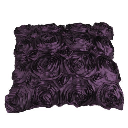 Deep Purple De Rose - GREEN FABWOOD Purple Satin Rose Flower Square Pillow Cushion