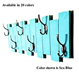 Renewed Décor Sydney Rustic Vertical Planked Wall mounted coat or towel rack featuring 6 heavy duty double hooks available in 19 colors