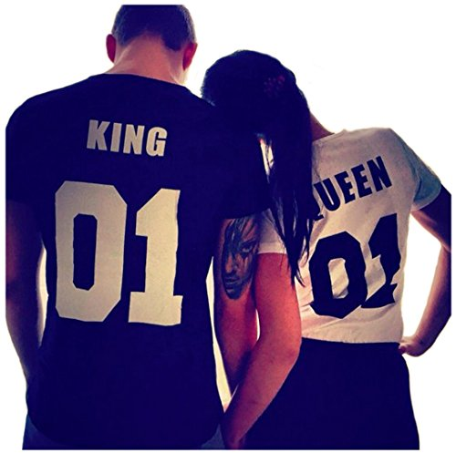 Jingjing1 Cute King and Queen Matching Couple Set Loose Short Sleeve T-Shirts Valentine's Day Gift (XL, White)