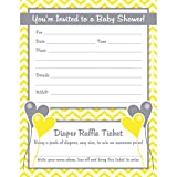 Gender Neutral Baby Shower Invitations with Diaper Raffle Ticket (Set of 25 with Envelopes)