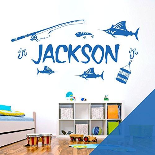 Personalised Name Boys Wall Art Sticker - Sport Fishing Lake Tackle [Marina]