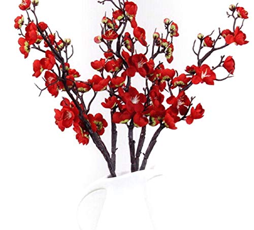 Mr Go Shop 6 Pieces of Artificial Plum Blossom Artificial Flowers Artificial Flora Simulation Flowerfor Home Decorations Office Kitchen Weeding