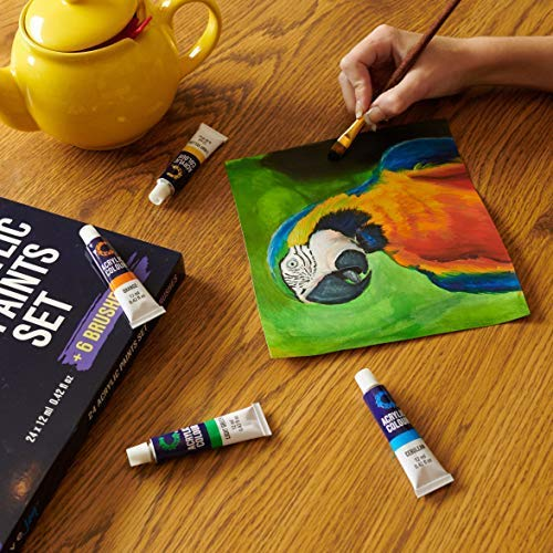 Acrylic Paint Set & Brushes with Rich Pigments in 24 Vivid Colors with 6 Pro Brushes is Great for Intermediate, Advanced and Hobby Painters from Kids Through Adults by Creative Joy (24 Paints) by Creative Joy (Image #2)