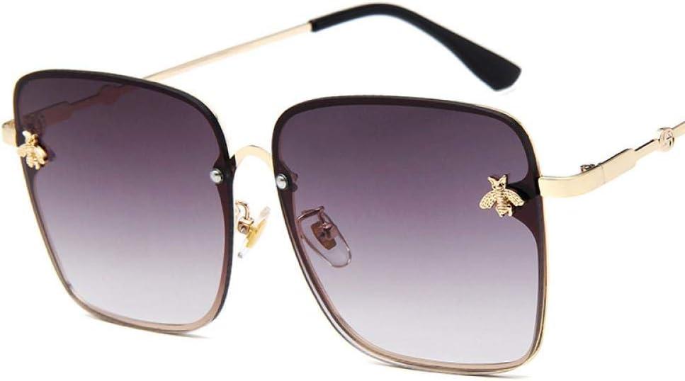 Sunglasses Gafas De Sol De Gran Tamaño De Metal para Mujer, con Montura Colorida, Gafas De Sol Cuadradas Vintage De Abeja para Mujer, Gafas De Sol Retro Rosadas