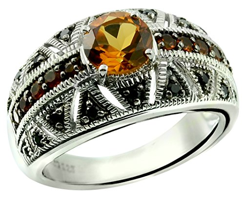 RB Gems Sterling Silver 925 Ring GENUINE GEMSTONE Round 7 mm with RHODIUM-PLATED Finish, Band Style (7, (Madeira Citrine Gemstone)