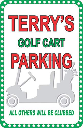 - Personalized Golf Cart Parking Sign with Your Custom Name - Golf Gifts & Golf Wall Decor - Reserved Parking Sign