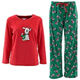 Emme Jordan Santa Puppy Womens' Red Fleece Pajamas 3X