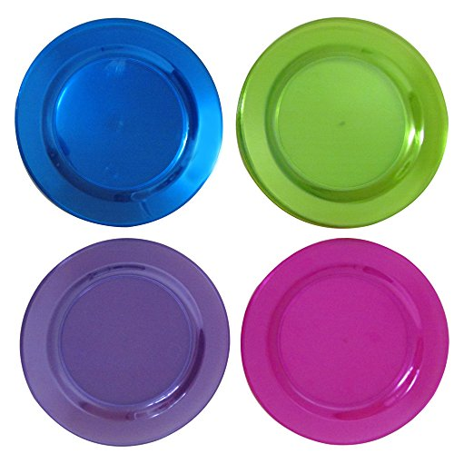 40 6 Inch Round Neon Colored Party Plates. Bright Colored Dessert Party Plates Come In Assorted Neon Colors, Pink, Purple, Green, And, Blue. Disposable Plastic Party Favor Plates. -