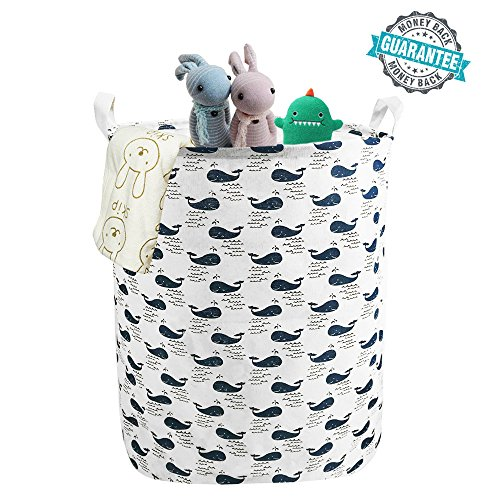 Cotton Hamper (Large Laundry Hamper Canvas Laundry Basket Foldable with Waterproof Coating Home Cotton Organizer Storage Bin Laundry Bucket Bag with Whale Design)