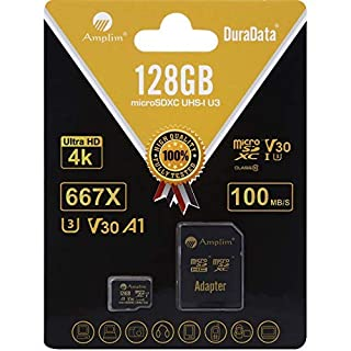 Amplim 128GB Micro SD SDXC V30 A1 Memory Card Plus Adapter Pack (Class 10 U3 UHS-I Pro MicroSD XC) 128 GB Ultra High Speed 667X 100MB/s UHS-1 TF MicroSDXC 4K Flash - Cell Phone, Drone, Camera