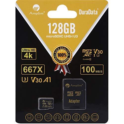 Amplim 128GB Micro SD SDXC V30 A1 Memory Card Plus Adapter Pack (Class 10 U3 UHS-I MicroSD XC Extreme Pro) 128 GB Ultra High Speed 667X 100MB/s UHS-1 TF MicroSDXC 4K Flash - Cell Phone, Drone, Camera
