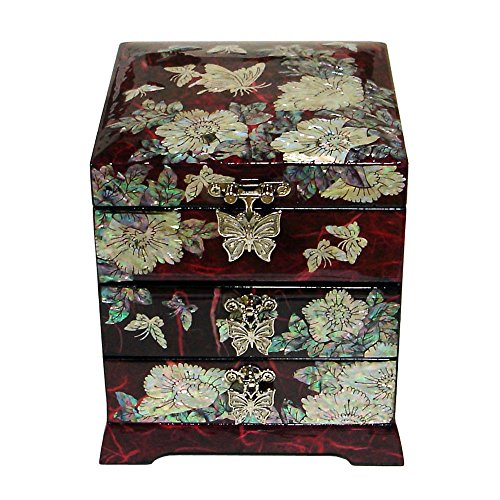 Treasures 8 Drawer Chest - Mother of Pearl Butterfly Flower Red Lacquer Wood Drawer Jewelry Trinket Keepsake Treasure Chest Box
