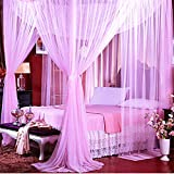 Lighting-Time 4 Corners Square Bed Canopy Twin Full Queen King Mosquito Net Indoor Outdoor (King,Purple)