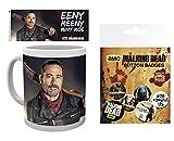 walking dead pictures - Set: The Walking Dead, Negan, Eeny, Meeny, Miny, Moe Photo Coffee Mug (4x3 inches) And 1 The Walking Dead, Badge Pack (6x4 inches)