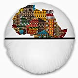 Designart CU12975-16-16-C Africa Map with Ethnic Textures' Abstract Throw Cushion Pillow Cover for Living Room, Sofa, 16'' Round