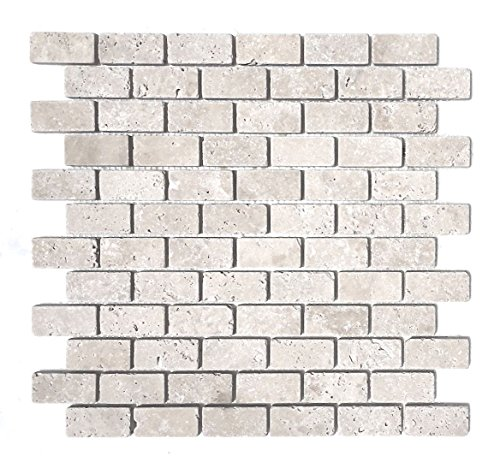 Light 1x2 Tumbled Aged Travertine Traditional Look Mosaic Tile Backsplashes Floors Walls ()