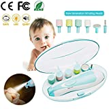 Baby Nail File Electric Nail Trimmer Clipper Manicure Set Upgraded Automatic Toes Fingernails Care Trim Polish Grooming Kit Safe for Infant Toddler Newborn Kids or Women with LED Light and 6 Grinding Heads ( (02)