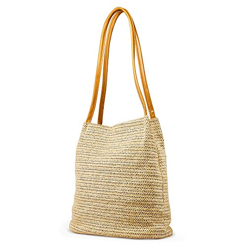OCT17 Women Straw Beach Bag tote Shoulder Bag Summer Handbag - Yellow