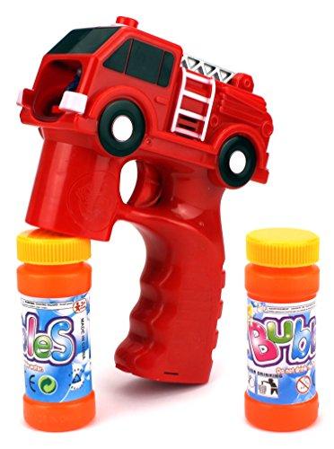 Rescue Fire Truck Battery Operated Toy Bubble Blowing Gun w/ 2 Bottles of Bubble (Trucks Floor Pillow)
