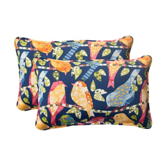 Pillow Perfect Outdoor Ash Hill Corded Rectangular Throw Pillow, Navy, Set of 2 - Includes two (2) outdoor pillows, resists weather and fading in sunlight; Suitable for indoor and outdoor use Plush Fill - 100-percent polyester fiber filling Edges of outdoor pillows are trimmed with matching fabric and cord to sit perfectly on your outdoor patio furniture - living-room-soft-furnishings, living-room, decorative-pillows - 517ucb0KSiL. SS570  -