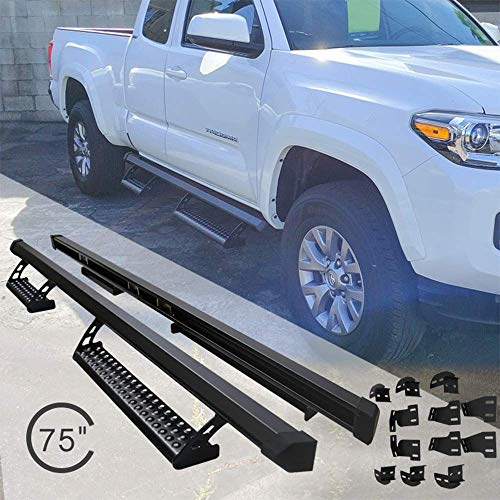 Running Boards Fits 2005-2015 Toyota Tacoma | Access Cab Side Step Bar Nerf Bar Black by IKON MOTORSPORTS | 2006 2007 2008 2009 2010 2011 2012 2013 2014 ()