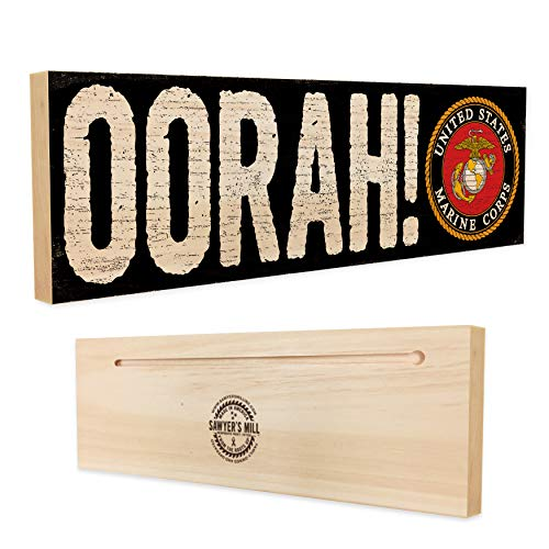 Corps Sign Marine - OORAH! - Officially Licensed by the United States Marine Corps - Handmade Wood Block Sign for Base, Barracks, Wall