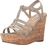 Steve Madden Women's Nalla Wedge Sandal, Taupe, 8.5 M US