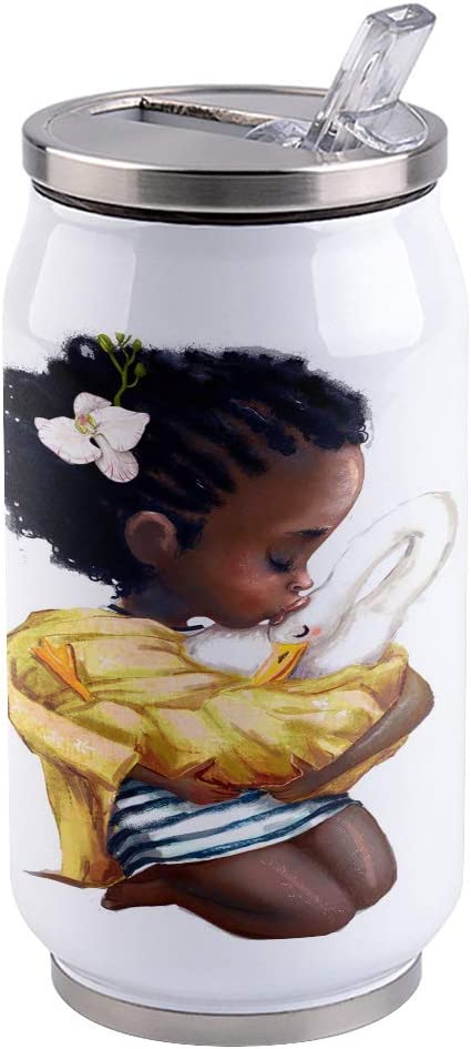 Water Bottle | Vacuum Insulated Stainless Steel Water Bottle 15oz | African Girl Holding a Swan | Double Walled Water Bottles | Wide Mouth with Straw Lid | Leak Proof Flip-Top