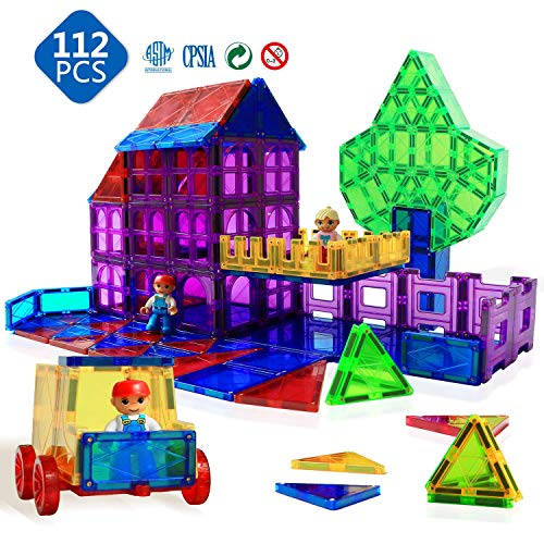 Magnetic Tiles - Magnetic Toys for Kids Toys Magnet Blocks Tiles Toys Magnetic Building Blocks Preschool Toys Set 112 Pieces