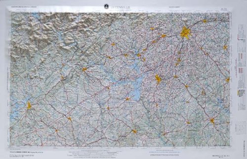 GREENVILLE REGIONAL Raised Relief Map in the states of Georgia, North Carolina, and South Carolina with OAK WOOD Frame by American Educational Products