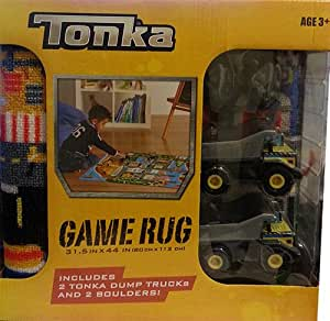 Tonka Truck 40in Square Jumbo Game Rug w/ Toy 2 Trucks