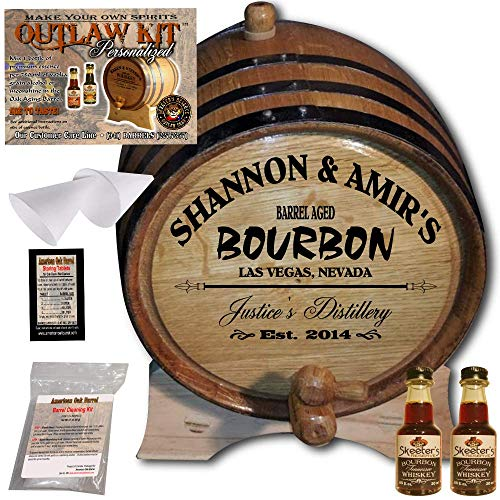 Personalized Whiskey Making Kit (062) - Create Your Own Tennessee Bourbon Whiskey - The Outlaw Kit from Skeeter's Reserve Outlaw Gear - MADE BY American Oak Barrel - (Oak, Black Hoops, 1 Liter) by American Oak Barrel (Image #4)